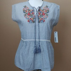 Women's Blue White Striped Embroidered Peplum Top